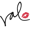 Val's signature in black, followed by a small red kissprint to the right, all against a transparent background.